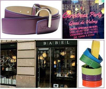man belt in colored leather violet
