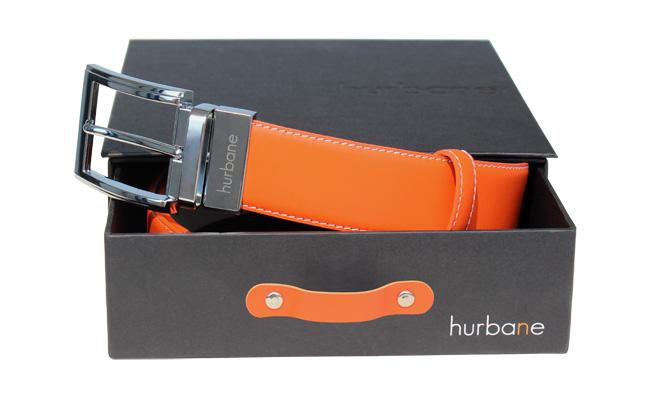 Ceinture de couleur homme - Cuir Orange Bonze - Boucle ardillon gravee 164bd2497f4