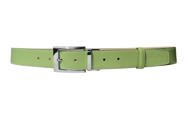 Men's belt - Tropical Green leather - Engraved prong buckle