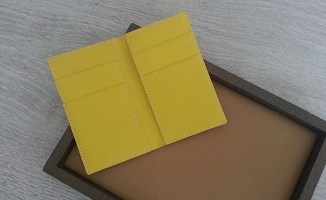 Leather wallet for men Yellow Lime - Card holder model