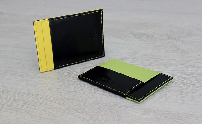 Men wallet - rigid model - Black patent and Yellow leather
