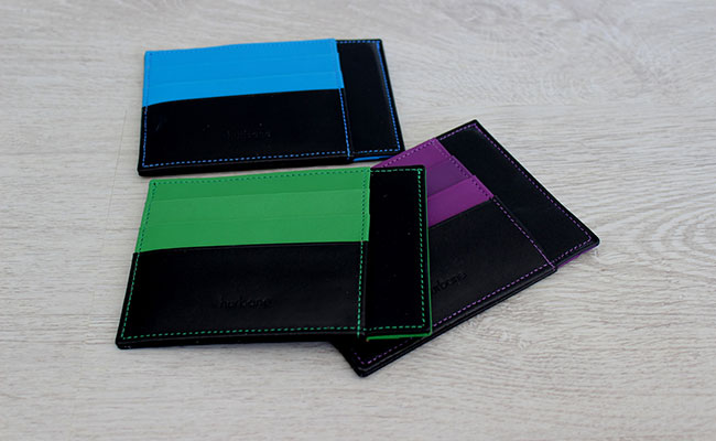 Leather wallet - Rigid shape - Black patent and Bunker Green Leather
