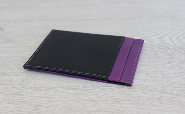 rigid wallet for men - Black patent and Ultra Violet Leather