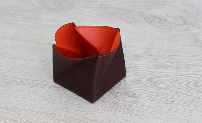 Leather small coin purse - Origami model - Row Brown and orange colors