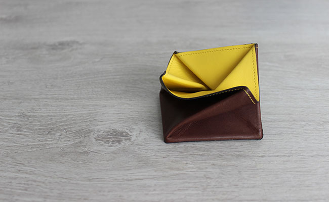 Origami leather coin purse - Row Brown and yellow leather ... - photo#46