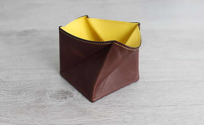 Origami leather coin purse - Row Brown and yellow leather ... - photo#10