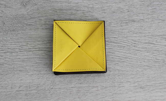 Origami leather coin purse - Row Brown and yellow leather ... - photo#13