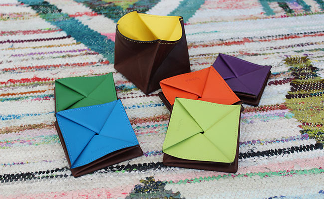 Origami leather coin purse - Row Brown and Tropic Green