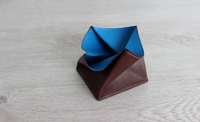 Origami leather coin purse - Row Brown and Arctic Blue ... - photo#4