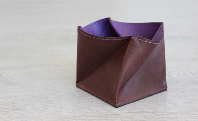 Origami leather coin purse - Row Brown and Ultra Violet ... - photo#42