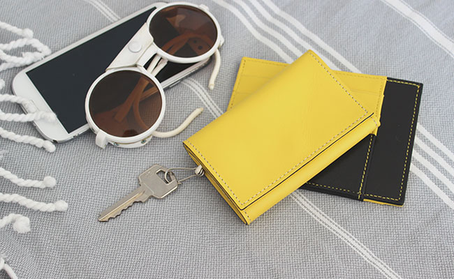 Men's leather key case - Yellow Lime leather