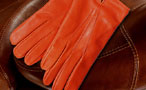 Men's coloured leather gloves - fitted straight cut - Monastic orange