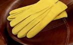 Men's coloured leather gloves - fitted straight cut - Yellow Lime leather