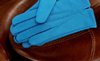 Men's coloured leather gloves - fitted straight cut - Arctic Blue