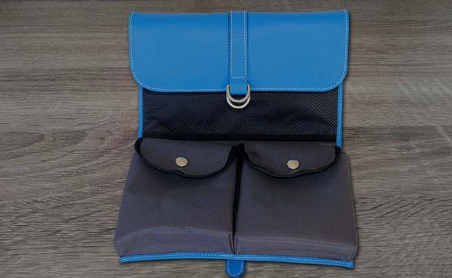 Men's Toilet Bag - Arctic Blue leather