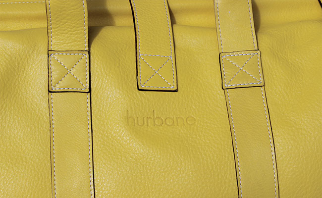 Men's calfskin travel bag - Lime Yellow
